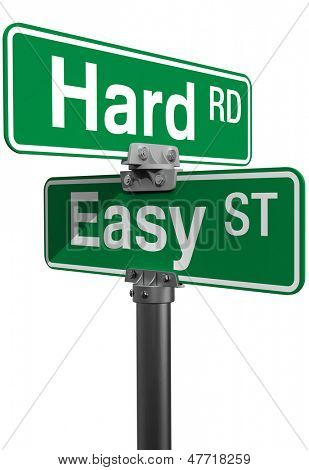 Signs choose between Hard Road or Easy Street life directions