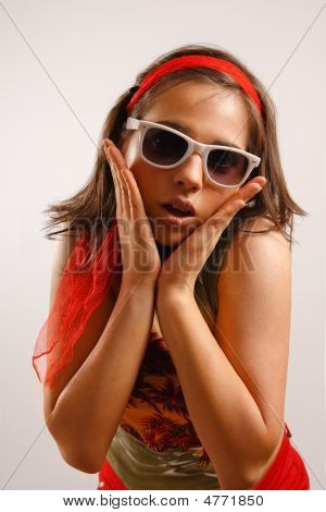 Portrait Of Attractive Beautiful Young Woman Wearing Sun Glasses