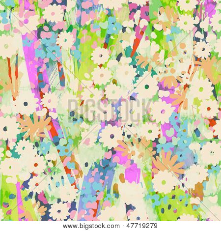 Cute pastel flowers tile seamless background