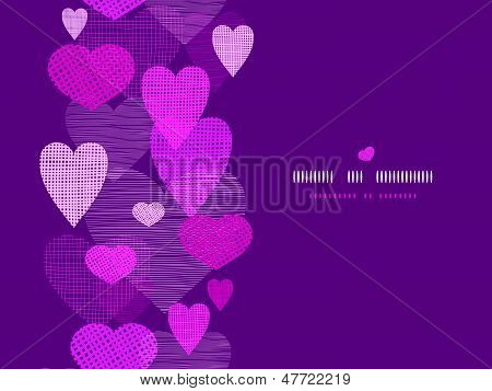 Textured fabric hearts horizontal seamless pattern background