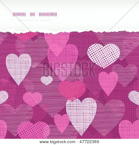 Fabric hearts romantic torn horizontal seamless background