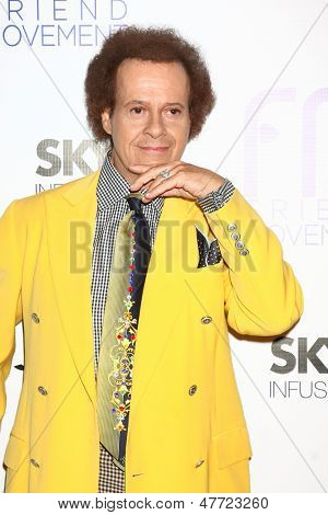 LOS ANGELES - JUL 1:  Richard Simmons arrives at the Friend Movement Anti-Bullying Benefit Concert at the El Rey Theater on July 1, 2013 in Los Angeles, CA