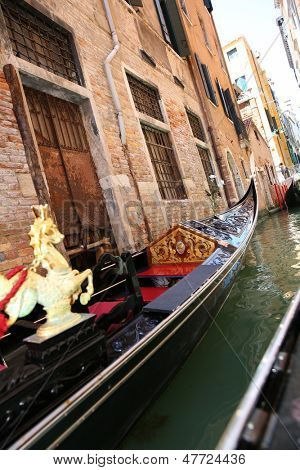 Detail of typical venitian gondola on water