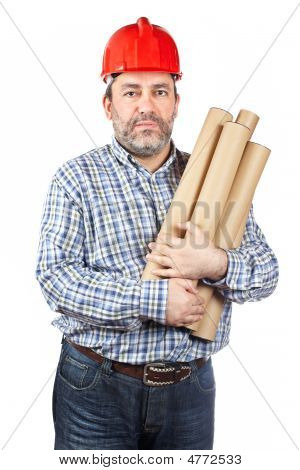 Construction Worker Holding Cardboard Tubes