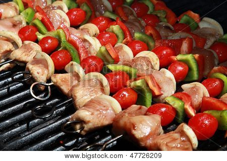 Delicious! A Colorful Row of Shish kebabs
