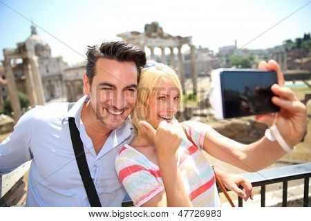 Couple taking picture by the Roman Forum