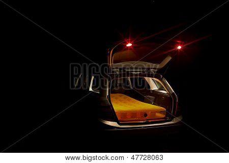 Open Car Boot With Mattress