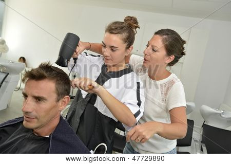 Hairstyle training class in beauty salon
