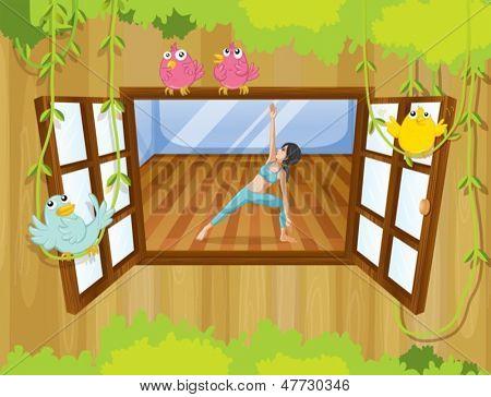 Abbildung eines Mädchens tun Yoga am Fenster