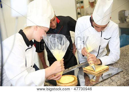 Young people in pastry training course