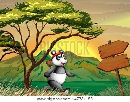 Illustration of a panda following the wooden arrowboard