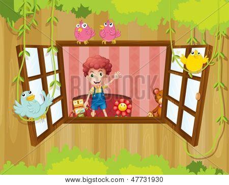 Abbildung eines jungen Mannes im Inneren des Hauses winken am Fenster