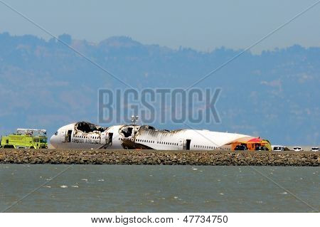 Asiana Airlines Flight 214 after crash landing at San Francisco Airport July 6, 2013