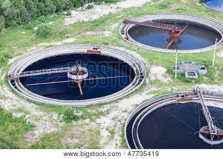 Group Of Wastewater Filtering Tanks In Treatment Plant