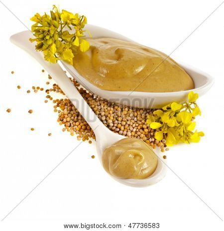 Mustard dish sauce , seeds and mustard flower isolated on white background
