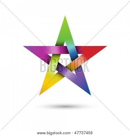 Colorful pentagram, vector illustration