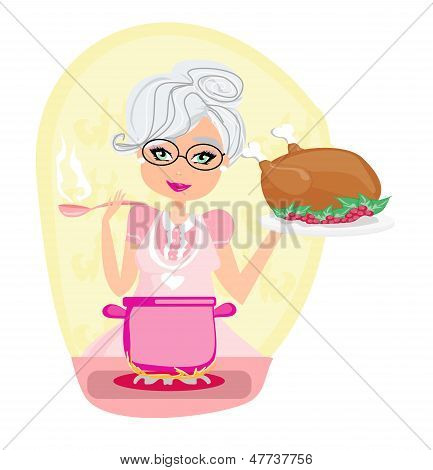 Grandmother Cooking Soup And Serving Chicken