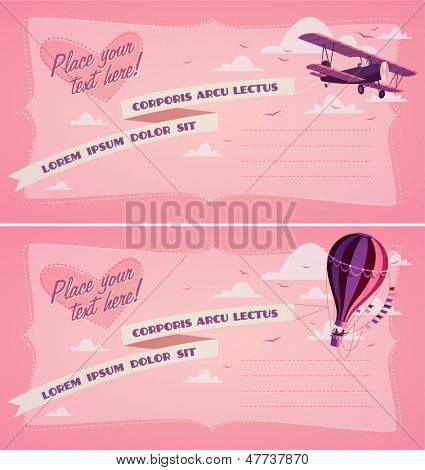 Hot air balloon and biplane. Invitation