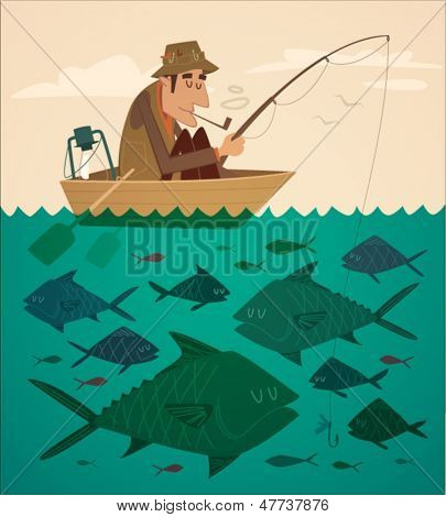 Fishing on the boat. Vector retro styled illustration.