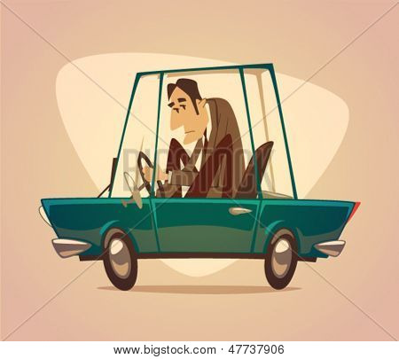 Car. Poster. Vector retro styled illustration.