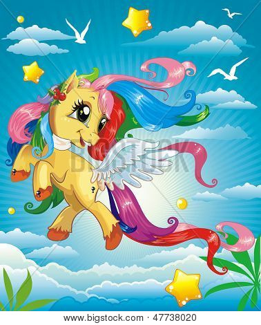 Vector Illustration of beautiful Pony on clouds