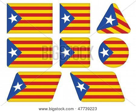 Buttons With Flag Of Catalonia