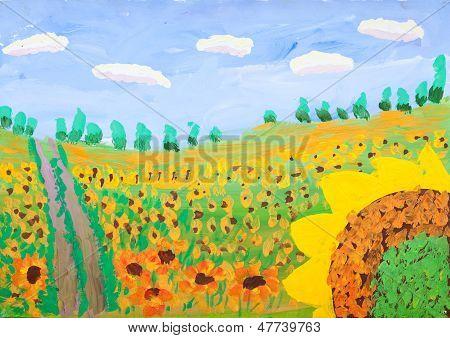 Child's Gouache Picture Of Sunflower Field