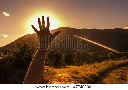 Hand Silhouette At Sunset