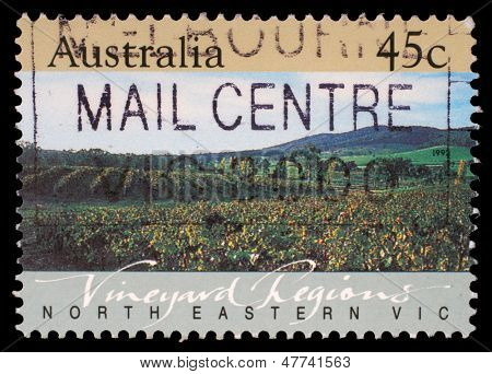 AUSTRALIA - CIRCA 1992: A Stamp printed in AUSTRALIA shows the North Eastern Vic, Vineyard Regions, series, circa 1992