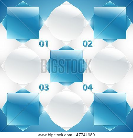 Blue blueprint (spreadsheet) with squares / cubes. Infographic. Business banners