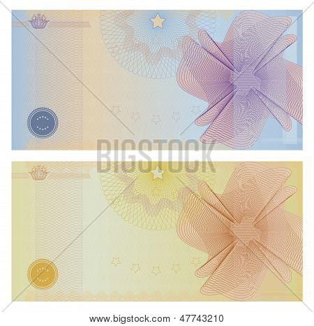 Gift Voucher / certificate / coupon template (banknote, money design, currency, cheque, check)