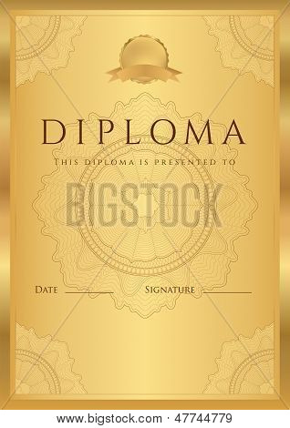 Gold Diploma / Certificate template with guilloche pattern, border