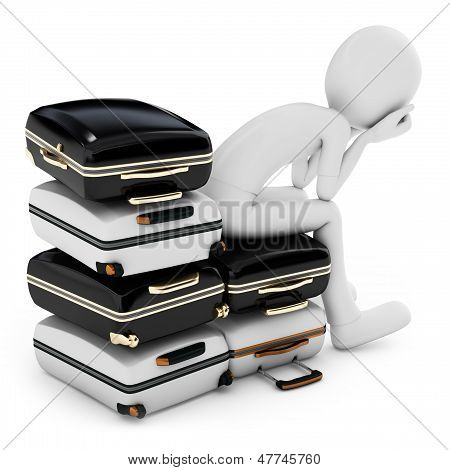 3D Man Thinking Where To Travel, Sitting On A  Pile Of Suitcases