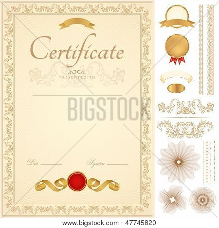Golden Certificate / diploma of completion (template) with borders. Guilloche pattern
