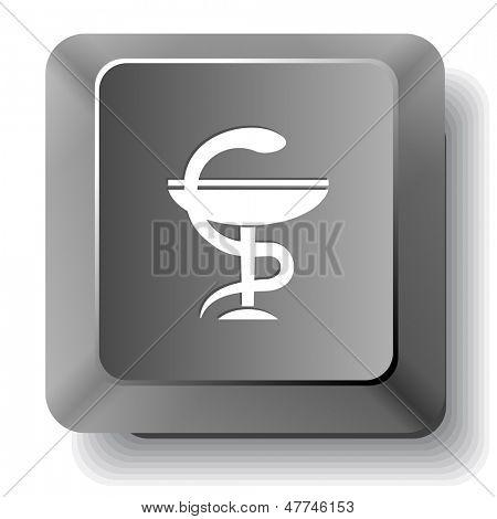 Pharma symbol. Vector computer key.