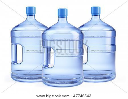 Three Large bottle of pure water isolated on a white background
