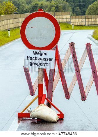flood of 2013. austria. floods and floods. roadblock