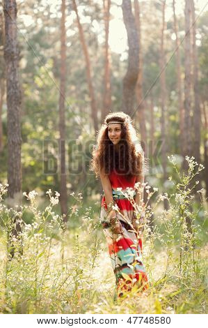 Beautiful girl in a forest