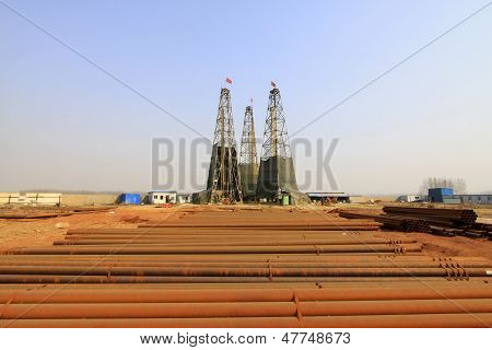 Drilling Derrick In A Iron Mine, China