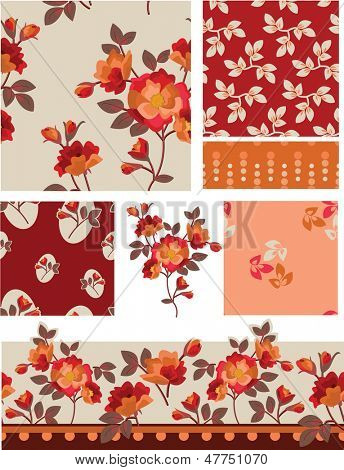 Summer Floral Vector Seamless Patterns. Use as fills, digital paper, or print off onto fabric to create unique items.