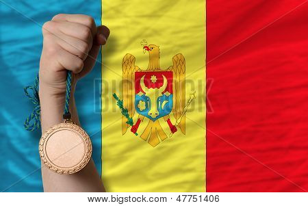 Bronze Medal For Sport And  National Flag Of Moldova
