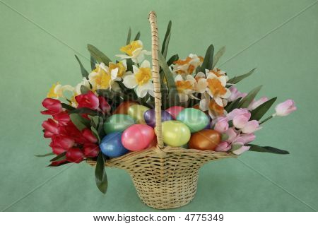 Easter Basket Of Flowers And Eggs
