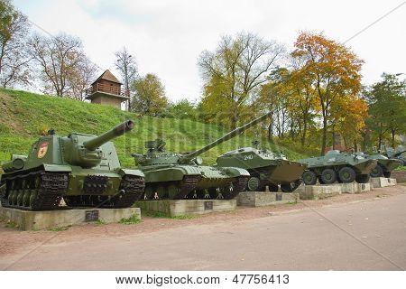 Old Heavy War Tanks In Park, Korosten, Ukraine