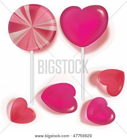Lutscher und Candy Heart Shaped auf weiß. Vektor-Illustration