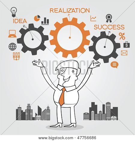 Businessman holding a gear of a machine. concept implementation and achievement of business objectives