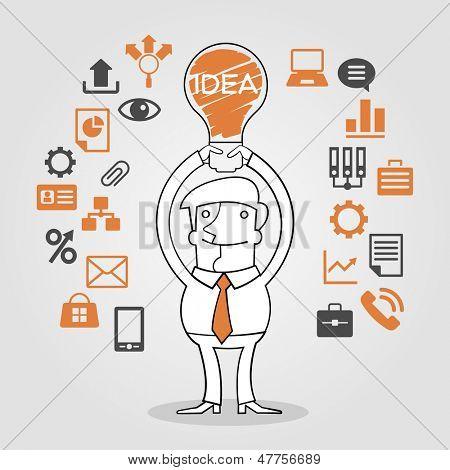 Große Idee Konzept. Illustration der Glühbirne über Business Mann Kopf schweben.