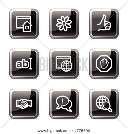 Internet Web Icons, Black Square Glossy Buttons Series