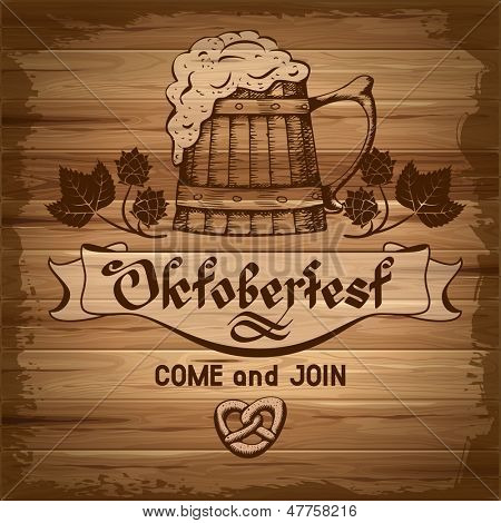 Oktoberfest, vintage poster with wooden background