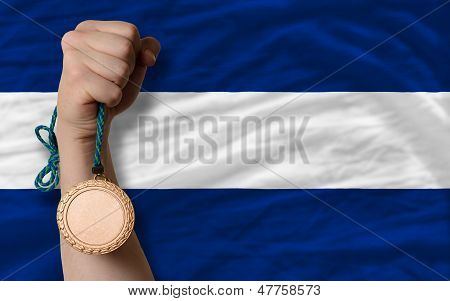 Bronze Medal For Sport And  National Flag Of Nicaragua