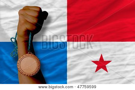 Bronze Medal For Sport And  National Flag Of Panama